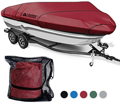 Leader Accessories Polyester Waterproof Trailerable Runabout Boat Cover Fit V-hull Tri-hull Fishing Ski Pro-style Bass Boats,Full Size (20'-22'L Beam Width up to 100'', Burgundy-ShoreMaster)