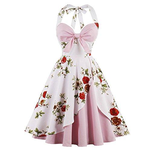 CharMma Women's Vintage Halter Rockabilly Swing Floral Print Tea Cocktail Dress (Light Pink, L) -