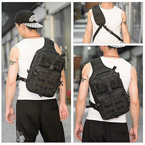 riavika 20L klein Tactical MOLLE Sling Pack–Kompakt und vielseitig–Schulter-Rucksack, Pack, Pack, oder, Hand–Military Assault Stil Rucksack. schwarz - schwarz