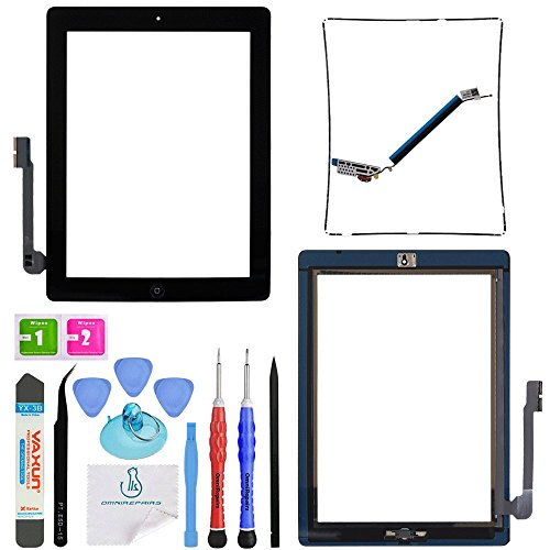 OmniRepairs-for iPad 3 (3rd Generation) Glass Touch Screen Digitizer OEM Assembly Replacement with Home Button Flex, Adhesive Tape, Midframe Bezel, Screen Protector, and Repair Toolkit (iPad 3 Black)