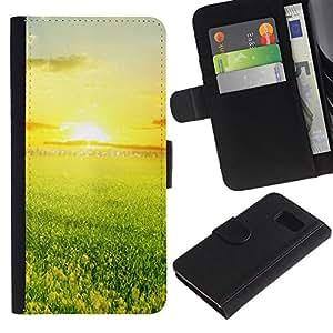 All Phone Most Case / Oferta Especial Cáscara Funda de cuero Monedero Cubierta de proteccion Caso / Wallet Case for Samsung Galaxy S6 // Green and sunset