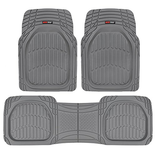 Motor Trend MT-923-GR Flextough Contour Liners-Deep Dish Heavy Duty Rubber Floor Mats for Car SUV Truck and Van-All Weather Protection, Gray