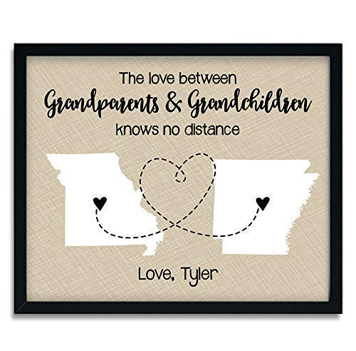 Two State Paper Art Print | Color Options & Gift Wrap Available | Personalized Grandparent Sign | Grandparent Map | Gifts for Grandparents | Grandma Gift | Grandpa Gift (Grandparent Personalized Gifts)