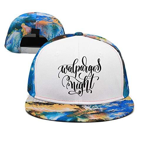Blue Walpurgis Night Black Letter Print Unisex Classic All Cotton Flat Cap Fitted Hip Hop Snapback Hats