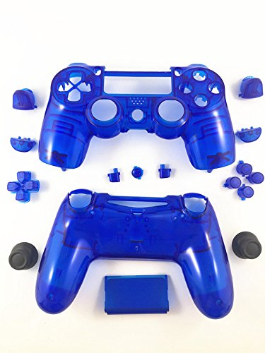 Replacement Transparent Blue Full Housing Shell + Buttons for PS4 Playstation 4 Dualshock 4 Replacement Parts PS4 Clear Blue Controller Shell PS4 Controller Repair Kit Ps4 Controller