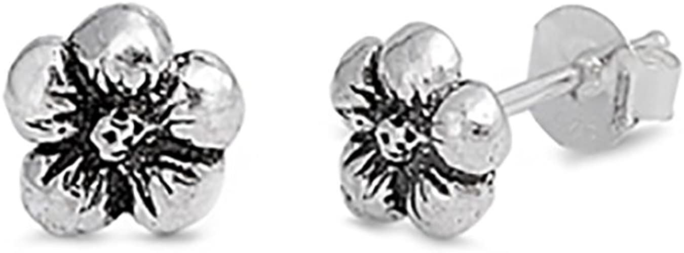 6mm ite Stud Earrings Sterling Silver