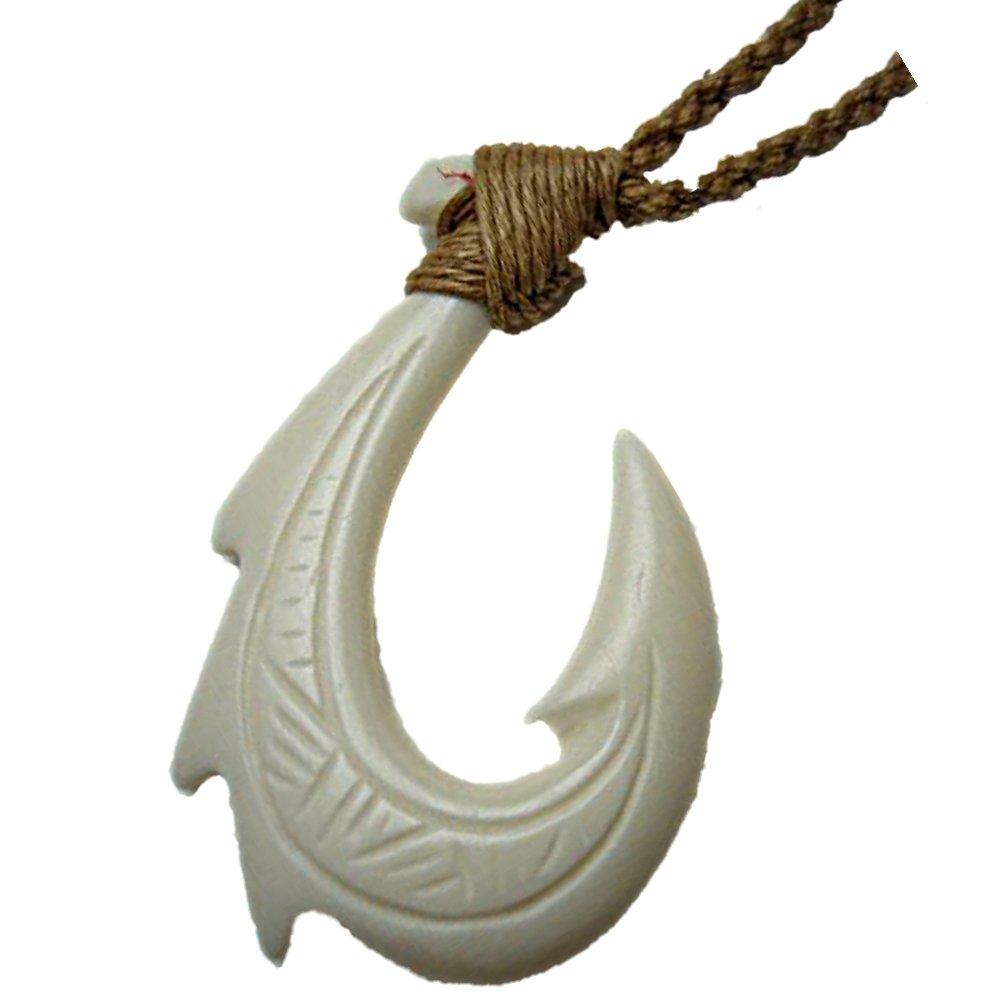 Amazon Hawaiian Makau Bone Tribal 3 Fin Fish Hook Pendant