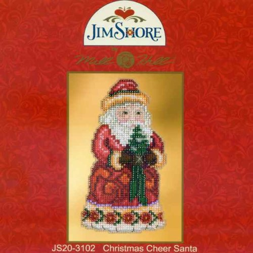 Mill Hill Christmas Santa Ornament Counted Cross Stitch Kit w// Glass Beads Christmas Cheer JS203102
