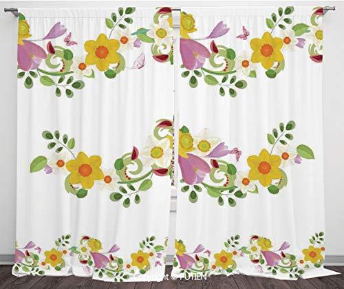 (Satin Window Drapes Curtains [ Daffodil,Horizontal Leaf and Flower Motifs Laurel Fairy Mother Earth Habitat Gardening Theme,Multi ] Window Curtain Window Drapes for Living Room Bedroom Dorm Room Class )
