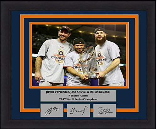 "Astros 2017 World Series Champions Justin Verlander, Jose Altuve, Dallas Keuchel 8"" x 10"" Baseball Framed and Matted Photo with Engraved Autographs"