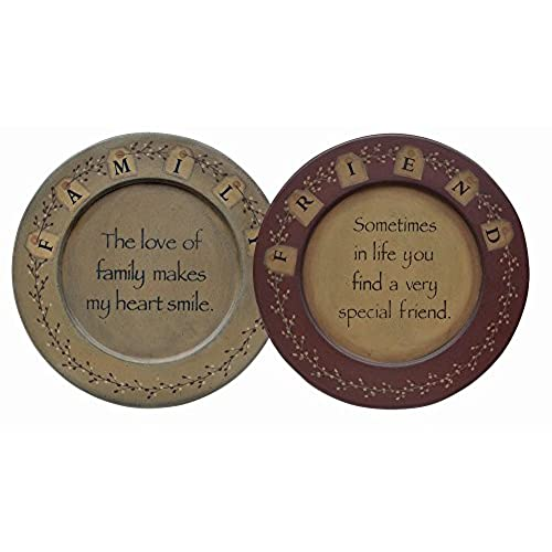 CWI Gifts 2-Piece Friends and Family Plate Set 9.5-Inch  sc 1 st  Amazon.com & Primitive Plates: Amazon.com