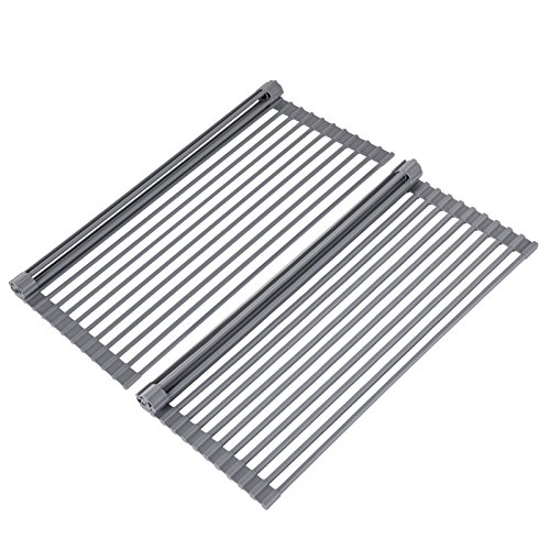 SONGMICS 2 Pack Roll-Up Dish Drainer Rack Over the Sink, Mul