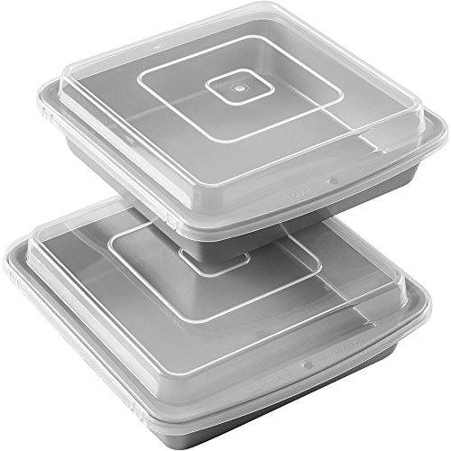 Wilton Recipe Right Square Non-Stick Covered Brownie Pan Multipack, 9 in. x 9 in. (2-Pack)