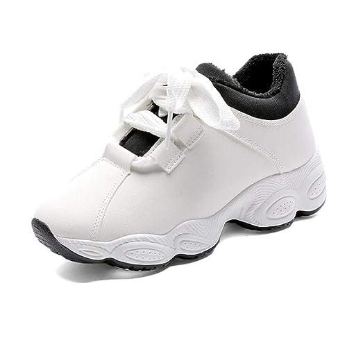ba88fe568181b Femme Baskets Chaud Hauteur Augmentant Chaussures Hiver Solide Court  Peluche Plate-Forme Plate-Forme
