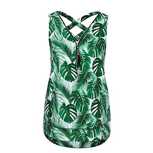 - Womens Blouse,Plus Size Zipper Floral Camisole Cross Back Cami Shirts Axchongery (Green, 3XL)