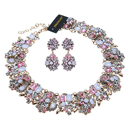 Crystal Statement Necklace (Earrings Set), Vintage Chunky Chain Choker Bib Statement Necklace Fashion Costume Jewelry Necklaces (Set) for Women ()
