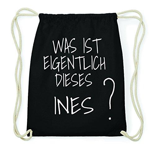 JOllify INES Hipster Turnbeutel Tasche Rucksack aus Baumwolle - Farbe: schwarz Design: Was ist eigentlich QGYh3