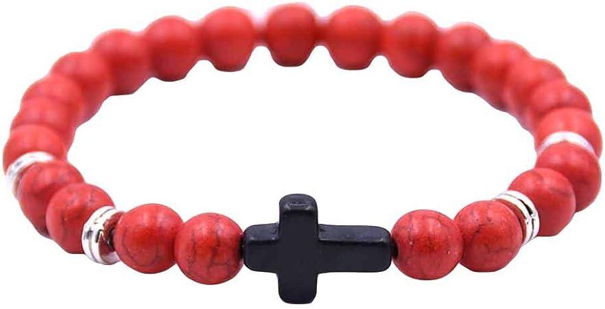 Blanc Pierre Momangel Bracelet /élastique Unisexe avec breloque en Forme de Croix 6 Couleurs