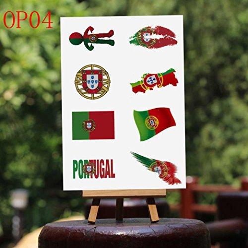Tattoo Sticker, Alonea 2018 Football Game National Flag Tattoo Sticker Temporary Face Decor (Portugal Face)