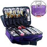 MONSTINA Cosmetic Bag 3 Layer Cosmetic Organizer Beauty Artist Storage Brush Box (L-Purple)