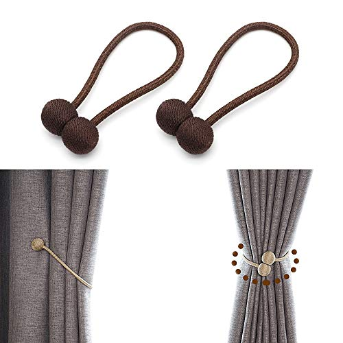 JQWUPUP Magnetic Curtain Tiebacks - Classic Decorative Drapery Drape Holdbacks Holders - Woven Curtain Tie Backs Clips Rope for Sheer and Blackout Panel (2 Pieces, ()