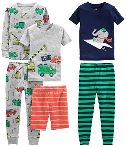 Simple Joys by Carter's Boys' Toddler 6-Piece Snug Fit Cotton Pajama Set, Transportation/Elephant/Stripes, 5T