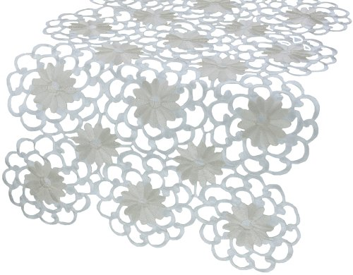 (Xia Home Fashions Daisy Splendor Embroidered Cutwork Spring Table Runner, 15 by 54-Inch, Ivory)