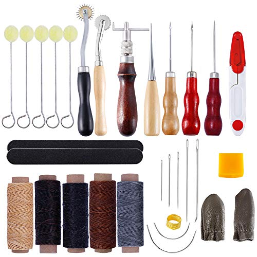favourity-home DIY Leather-based Free Mixture Set Leather-based Craft Set Handmade Leather-based Items Hand Stitched Diamond Minimize Leather-based Artwork Set Inside Restore Equipment 29 Items Canvas Thread and Tape Measure