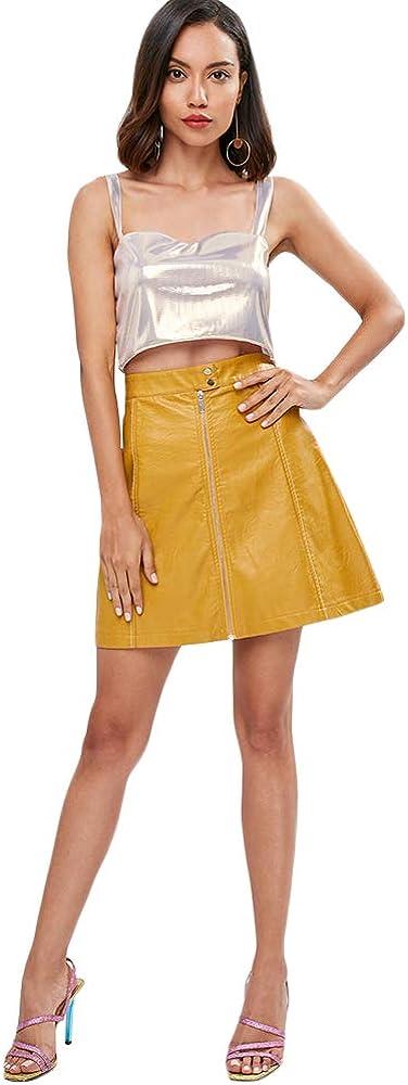 ZAFUL Falda Corta para Mujer Básica Falda de Cuero PU Falda de Trapecio con Cremallera Mini Vestido Liso