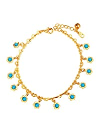 Women Anklet Enamel/Rhinestone Sunflower Charms Foot Ankle Chain Platinum/Gold Plated