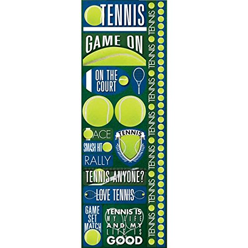 (Reminisce Signature Series Cardstock Combo Stickers, 4.25 by 12-Inch, Tennis)