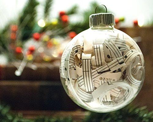 Vintage Sheet Music Christmas Ornament - 2.62 Inch Glass Ornament with 1/4 Inch Strips (Music Ornaments Notes Christmas)