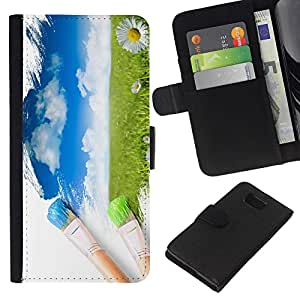 KingStore / Leather Etui en cuir / Samsung ALPHA G850 / Peintre Nature Brosse