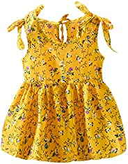 Toddler Baby Girl Summer Sleeveless Suspender Dress Bow Flowers Kids Party Clothes