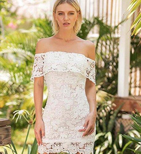y con en Encaje el en en Delgada el XIAOXIAO Fina L Mujer Blanco Falda la HEFEI Color Vestido 2018 Respaldo Falda sin Cuello Pecho tamaño qIwEU5