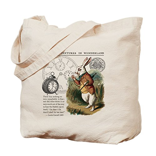 Alice In Wonderland Tote Bag - CafePress - The White Rabbit Alice In Wonderland Tile - Natural Canvas Tote Bag, Cloth Shopping Bag