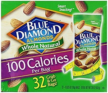 Blue Diamond Almonds 100 Calories Per Bag - 32 Grab and Go Bags,.625 Oz (Individual),20 Oz (net Weight) 2 Pack ( 64 Total Grab and Go Bags)