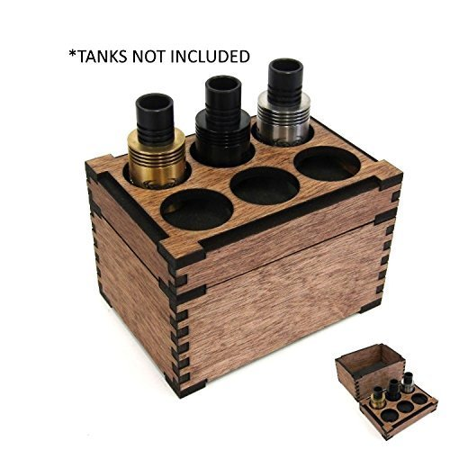 TANK ORGANIZER w/ STORAGE BOX wood wooden atty holder stand display vape