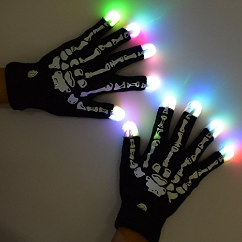 LED Flashing Glow Rave Gloves, Light-up Toys with Lights 3 Colorful 7 Modes Fits Women, Men & Kids for Halloween Christmas Light Show Performances Clubbing Raves Disco Birthday Party, Skeleton Gloves