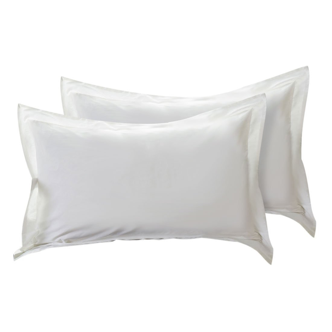 HH Linen's Easy Fit / Adjustable,Luxury Cotton Hotel & Spa Pillow Shams-with Flange[Body, White]
