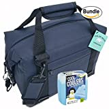 Polar Bear Coolers Nylon Series Soft Cooler Tote Size 12 Pack Navy Blue & Fit & Fresh Cool Coolers Slim Ice 4-Pack (Bundle)