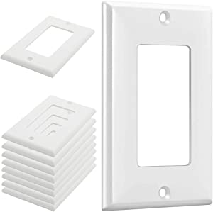 RGBZONE Wall Plates Kit, 10 Pack Home Décor Electrical Switches Cover, 1-Gang Standard Size, Durable Outlets Wallplate, White