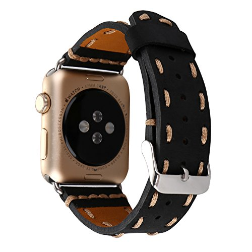 TCSHOW For Apple Watch Band 42mm,42mm Handmade Vintage Calf Genuine Leather Strap Wrist Band with Secure Metal Clasp Buckle for Apple Watch both Serie…