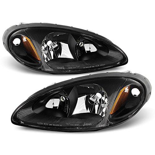 ACANII - For 2001-2005 Chrysler PT Cruiser Black Headlights Headlamps Head Lights Lamp Replacement Driver+Passenger Side