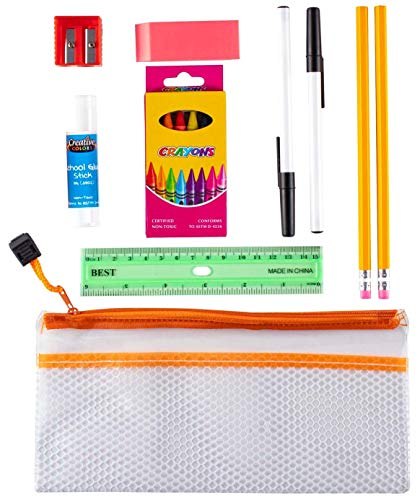 14 Piece Back to School Supply Kit for Kids K-12 - Essentials Box of Supplies Bundle Value Pack for Boys and Girls