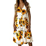【MOHOLL】 Women's Dresses- Summer Boho Sunflower Button V Neck Short Sleeve Midi Skater T Shirt DressWith Pockets White