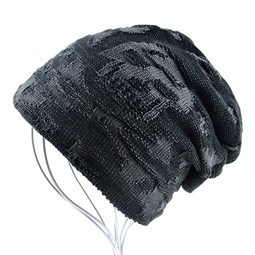 AKIZON Men's Beanie Hat Skull | Fall and Winter Warm Knit Caps | One Size (Black)