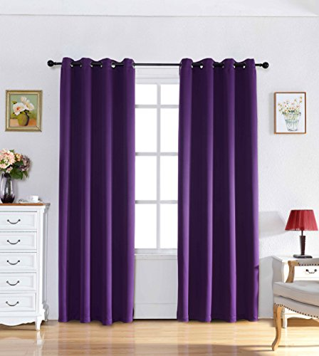 Taisier Eyelet Purple Curtains Home Decorations Thermal Insulated Blackout Curtains Para Sala for Bedroom Curtains Including 1 Matching Tie (1 Panel , 52