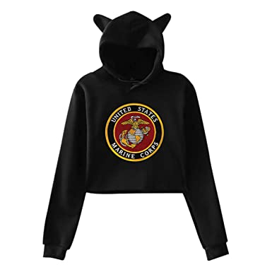 90d25a675 Amazon.com  USMC-Eagle Globe and Anchor Midriff-Baring Pullover Cat ...