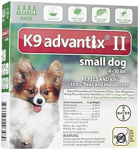 BAYER 004BAY-04458455 K9 Advantix II for Small Dogs 0 - 10 lbs, Green - 4 Months - Advantix Flea Treatment